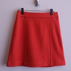 Ann Taylor Red Orange Wool Fitted A-Line Skirt